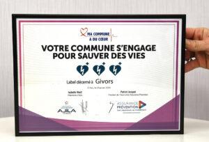 """Diplôme """"MA COMMUNE A DU CŒUR"""" 29 janvier 2020"""